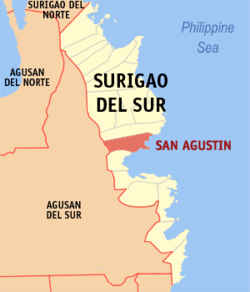 Map of Surigao del Sur with San Agustin highlighted