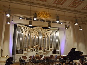 Kraków Philharmonic - The interior of the Kraków Philharmonic with the new Orgelbau organ in the background
