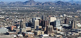 Phoenix AZ Downtown from airplane (cropped).jpg