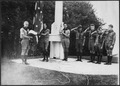 Photograph of Gerald R. Ford, Jr., Holding the Flag, with Fellow Members of the Eagle Scout Guard of Honor, at Fort... - NARA - 186933.tif