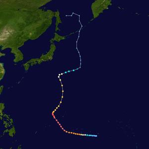 1958 Pacific typhoon season - Image: Phyllis 1958 track