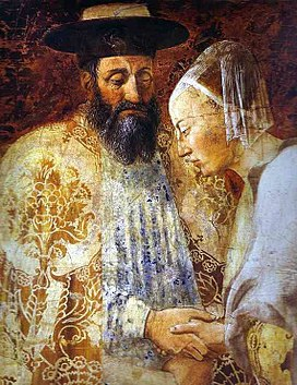 Piero della Francesca- Legend of the True Cross - the Queen of Sheba Meeting with Solomon; detail.JPG
