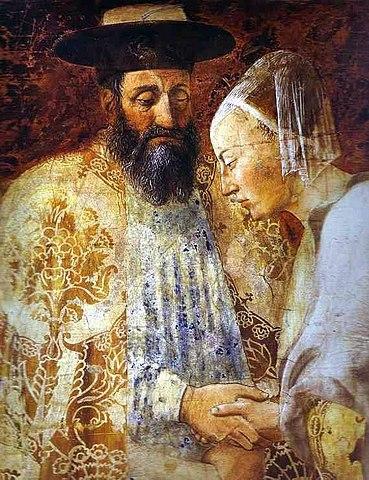 Соломон и царица Савская на фреске Пьеро делла Франческа из базилики Сан-Франческо