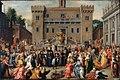 Pieter Isaacsz - oploop der Romeinse vrouwen op het Kapitool te Rome na het optreden van de kleine Papirius.jpg