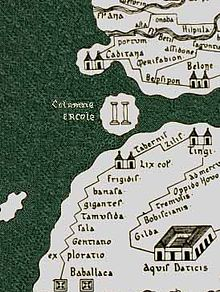 Portion of a Roman map showing the Pillars of Hercules (traditionally but erroneously) as an island, with the coasts of Spain and Africa above and below