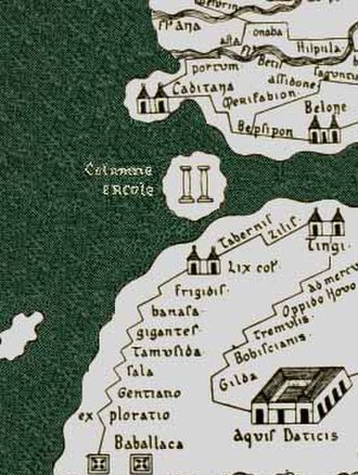History of Gibraltar - The Pillars of Hercules depicted erroneously as an island on the Tabula Peutingeriana, an ancient Roman map