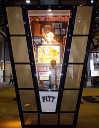 f22a5152e Kiosk in the Great Hall at Heinz Field celebrating Pitt s 1976 national  championship. A football signed ...