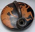 Pittore di curtius, askos attica a figure rosse, con satiro e menade, 480-450 ac ca..JPG