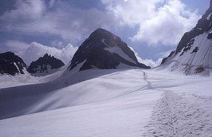 Udsigt mod bjerget fra ochsentalergletsjeren, juli 2001