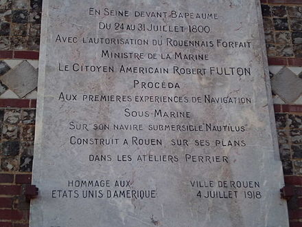 Commemorative plaque to Robert Fulton in the port of Rouen, made in 1918 to thank the United States for their involvement in the First World War Plaque commemorative a Robert Fulton, Rouen.JPG