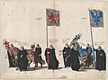 Plate 39- Men with heraldic flags and horses from Burgundy and Artois marching in the funeral procession of Archduke Albert of Austria; from 'Pompa Funebris ... Alberti Pii' MET DP874755.jpg