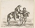 Plate 6- a peasant on horseback in profile facing the right, holding a basket and talking to another man standing behind the horse, from 'Diversi capricci' MET DP817355.jpg