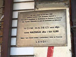 Agim Hajrizi - Commemorative plaques at the House of Agim Hajrizi, in Mitrovicë