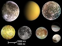 Pluto (bottom right) compared in size to the largest satellites in the solar system (from left to right and top to bottom): Ganymede, Titan, Callisto, Io, the Moon, Europa, and Triton