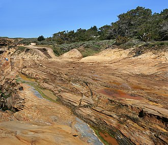 Geological history of Point Lobos - Sandstone rock formation at Point Lobos.