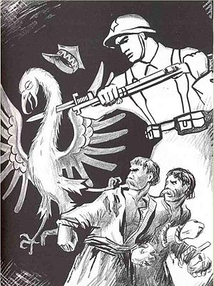 Elections to the People's Assemblies of Western Ukraine and Western Belorussia - Soviet propaganda poster; the killing of the Polish Eagle in the east