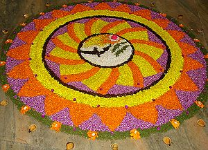 Pookalam during Onam days in Irinjalakuda, Kerala
