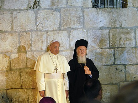 Pope Francis and Patriarch Bartholomew I in the Church of the Holy Sepulchre, Jerusalem, 2014 Pope Franciscus & Patriarch Bartholomew I in the Church of the Holy Sepulchre in Jerusalem (1).JPG