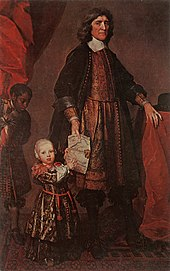 Painting of a richly dressed man in 17th century garb holding a map and leading a boy
