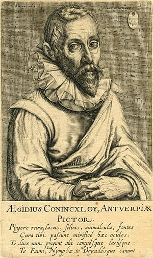 Gillis van Coninxloo - Portrait of Gillis van Coninxloo by Andries Jacobsz Stock, published in 1610 by Hendrik Hondius I.