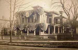 "Middletown, Connecticut - Home of Governor Frank Weeks, decorated for ""Wesleyan Taft Day"", 1909"