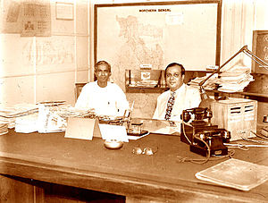 Bengal Legislative Assembly - Prafulla Chandra Ghosh (left) and Mohammad Ali (right) in the Bengal Secretariat. The former became West Bengal's first chief minister; the latter became Pakistan's third Prime Minister