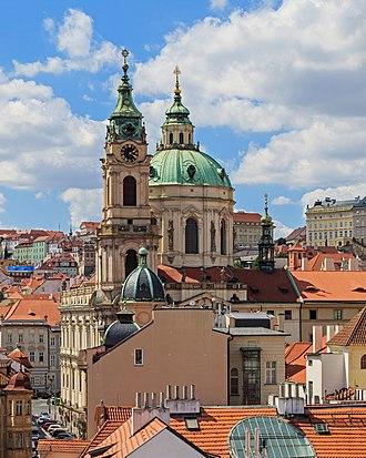 St. Nicholas Church (Malá Strana) - Image: Prague 07 2016 view from Lesser Town Tower of Charles Bridge img 1