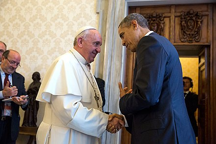 Pope Francis with U.S. President Barack Obama, 27 March 2014 President Barack Obama with Pope Francis at the Vatican, March 27, 2014.jpg