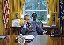 President Richard Nixon on the Telephone at the Oval Office Desk.jpg