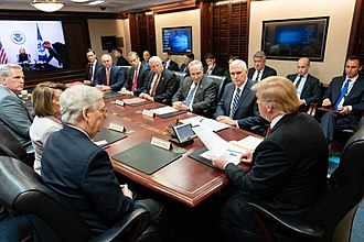 2018–19 United States federal government shutdown - Trump meets with Congressional leadership in the White House Situation Room on January 2, 2019