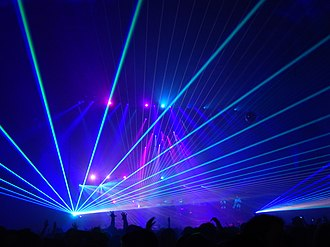 Pretty Lights - Pretty Lights at the Aragon Ballroom in November 2013. His live performances are known for complex laser and lighting displays.
