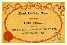 "Orange ticket reads ""French Revolution Dinner. This Ticket Admits to Bearer to Dine at the Hotel, On Thursday, July 14, 1791."""