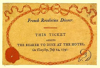 Priestley Riots - Ticket for the dinner celebrating the second anniversary of the storming of the Bastille on 14 July 1791
