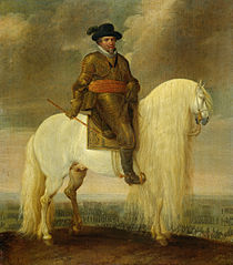 Prince Maurits astride the white warhorse presented to him after his victory at Nieuwpoort