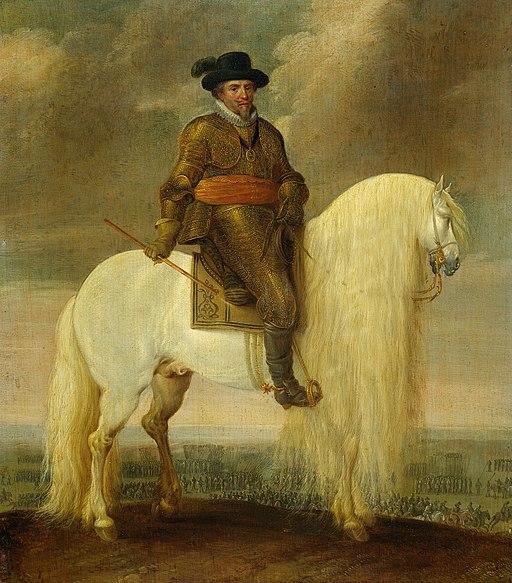 Prins Maurits gezeten op de witte strijdhengst hem geschonken na de overwinning bij de Slag bij Nieuwpoort Rijksmuseum SK-A-3125