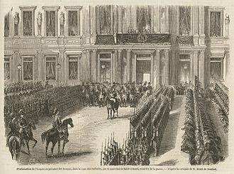 Second French Empire - The official declaration of the Second Empire, at the Hôtel de Ville, Paris on 2 December 1852.