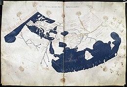 Carte Du Monde Selon La Geographia De Ptolemee Vers 150 Chine Est Sur Le Bord Droit A Lest Gange Sinae
