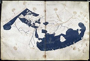 "Gazetteer - A 15th-century manuscript copy of the Ptolemy world map, reconstituted from Ptolemy's Geographia (circa 150), indicating the countries of ""Serica"" and ""Sinae"" (China) at the extreme right, beyond the island of ""Taprobane"" (Sri Lanka, oversized) and the ""Aurea Chersonesus"" (Malay Peninsula)."