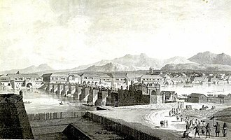 Puente de España - The Puente Grande with wooden superstructure spanning Pasig River as sketched in 1794 by Fernando Brambila, a member of the Malaspina Expedition.