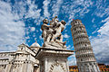 Putti Fountain, Pisa Cathedral (Duomo di Pisa) (forefront), The Leaning Tower of Pisa (background), Piazza dei Miracoli (-Square of Miracles-). Pisa, Tuscany, Central Italy-2.jpg