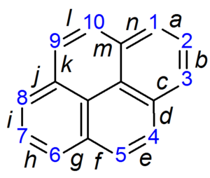 Pyrene - Diagram showing the numbering and ring fusion locations of pyrene according to IUPAC nomenclature of organic chemistry.