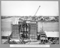 Queensland State Archives 3709 Construction of north main pier first section of arched brace complete Brisbane 20 October 1936.png