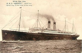White Star Line - Adriatic of 1907 (24,541 GRT), the largest of the Big Four