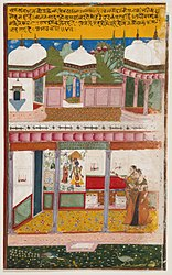 Radha and her Confidante Admiring Krishna Depicted in a Mural (Chitra Darshana), Folio from a Rasikapriya (The Connoisseur's Delights) LACMA M.74.5.16.jpg