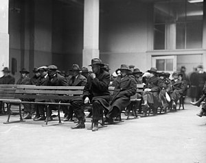 Deportation - Radicals awaiting deportation, Ellis Island, New York Harbor, 1920