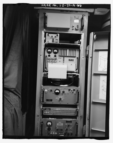 File:Radio set group, HF at top, UHF at bottom, north side - Ellsworth Air Force Base, Delta Flight, Launch Control Facility, County Road CS23A, North of Exit 127, Interior, Jackson County, HAER SD-50-A-66.tif