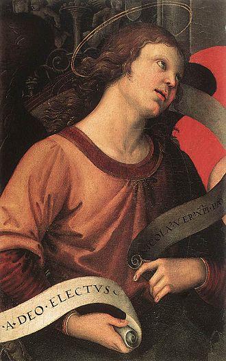 Baronci Altarpiece - Image: Raffaello Angelo 2 (frammento pala Baronci)