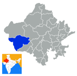 Location of Barmer district in Rajasthan