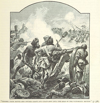 Battle of Assaye - Maratha gunners re-man their cannons (illustration by Alfred Pearse)