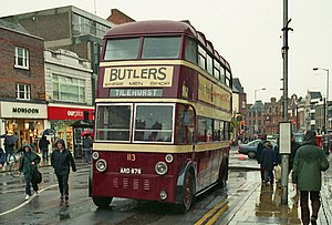 Trolleybuses in Reading - Preserved AEC 661T trolleybus 113 on its old route on Reading's Broad Street in October 1998